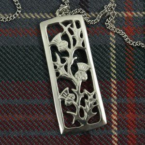 New Scotland Pewter Thistle Rectangle Necklace